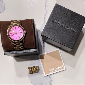 Gold Michael Kors Watch with Hot Pink Face